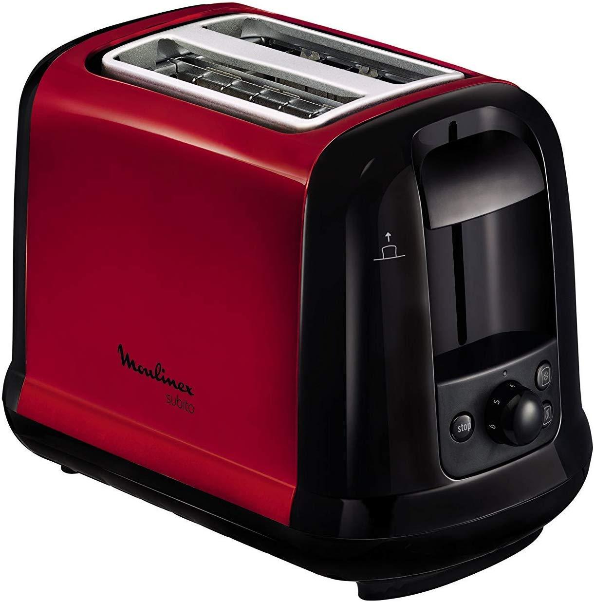 Moulinex LT260D11 Grille-Pain Toaster Subito 2 Fentes Décongélation Réchauffage Thermostat Réglable Rouge Inox 850W