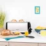 Moulinex LS260800 Grille-Pain Toaster Subito Longue Fente Décongélation Réchauffage Thermostat Réglable Noir Inox 1000W